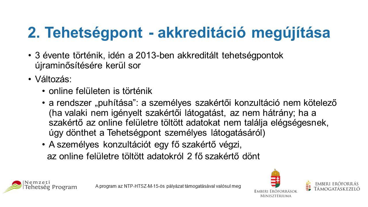 2. Tehetségpont - akkreditáció megújítása 3 évente történik, idén a 2013-ben akkreditált tehetségpontok újraminősítésére kerül sor Változás: online fe
