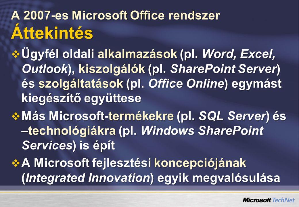 A 2007-es Microsoft Office rendszer Áttekintés  Ügyfél oldali alkalmazások (pl.