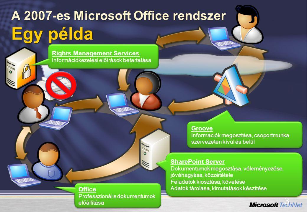 A 2007-es Microsoft Office rendszer Egy példa 3 Office Professzionális dokumentumok előállítása Office Professzionális dokumentumok előállítása SharePoint Server Dokumentumok megosztása, véleményezése, jóváhagyása, közzététele Feladatok kiosztása, követése Adatok tárolása, kimutatások készítése SharePoint Server Dokumentumok megosztása, véleményezése, jóváhagyása, közzététele Feladatok kiosztása, követése Adatok tárolása, kimutatások készítése Rights Management Services Információkezelési előírások betartatása Rights Management Services Információkezelési előírások betartatása Groove Információk megosztása, csoportmunka szervezeten kívül és belül Groove Információk megosztása, csoportmunka szervezeten kívül és belül