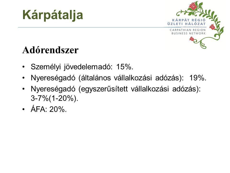 Adórendszer Személyi jövedelemadó: 15%. Nyereségadó (általános vállalkozási adózás): 19%.