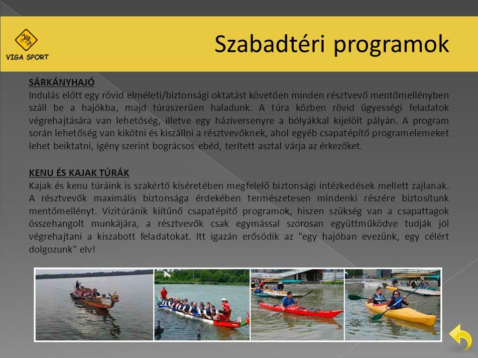 Szabadtéri programok SÁRKÁNYHAJÓ Indulás előtt egy rövid elméleti/biztonsági oktatást követően minden résztvevő mentőmellényben száll be a hajókba, majd túraszerűen haladunk.