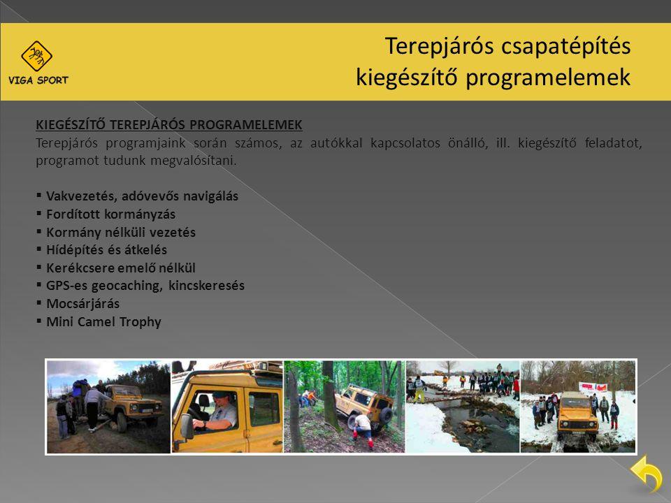 KIEGÉSZÍTŐ TEREPJÁRÓS PROGRAMELEMEK Terepjárós programjaink során számos, az autókkal kapcsolatos önálló, ill.