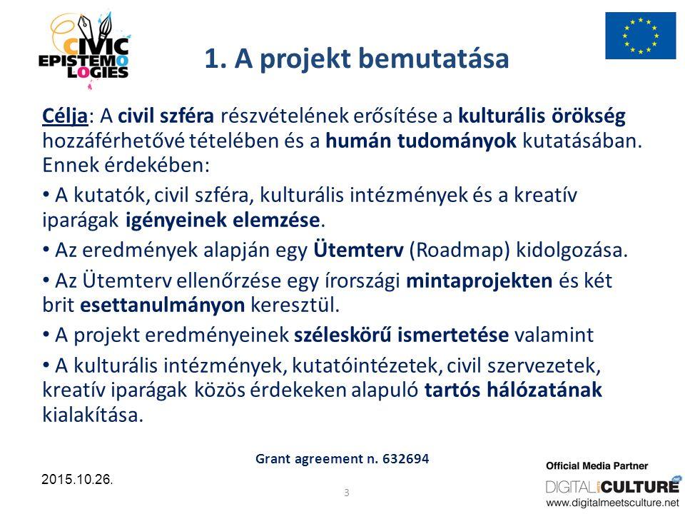 Grant agreement n. 632694 4 2015.10.26. A projekt résztvevői: 4