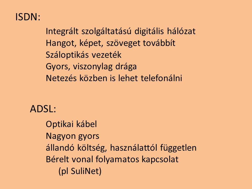 Integrált szolgáltatású digitális hálózat Hangot, képet, szöveget továbbít Száloptikás vezeték Gyors, viszonylag drága Netezés közben is lehet telefonálni Optikai kábel Nagyon gyors állandó költség, használattól független Bérelt vonal folyamatos kapcsolat (pl SuliNet) ISDN: ADSL: