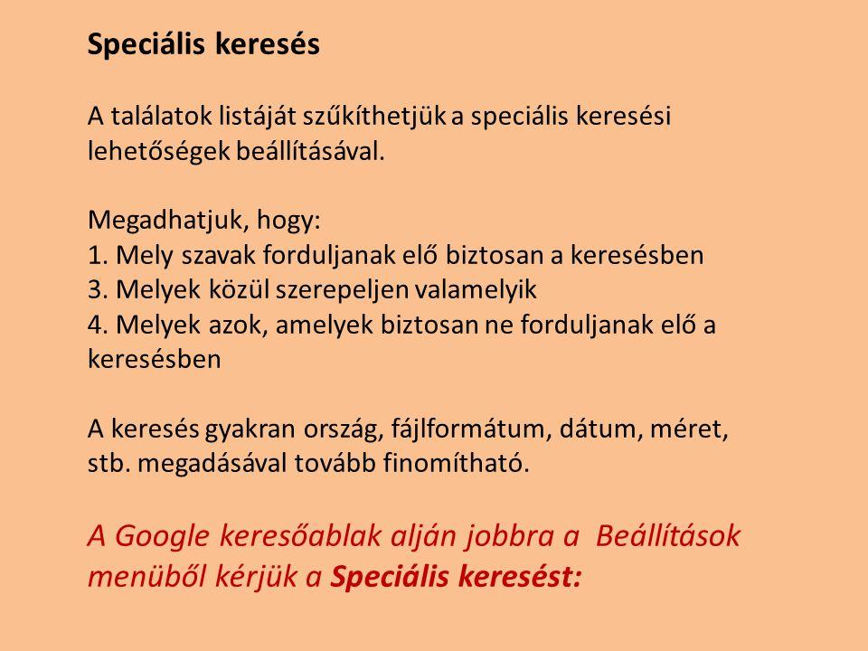 Speciális keresés A találatok listáját szűkíthetjük a speciális keresési lehetőségek beállításával.