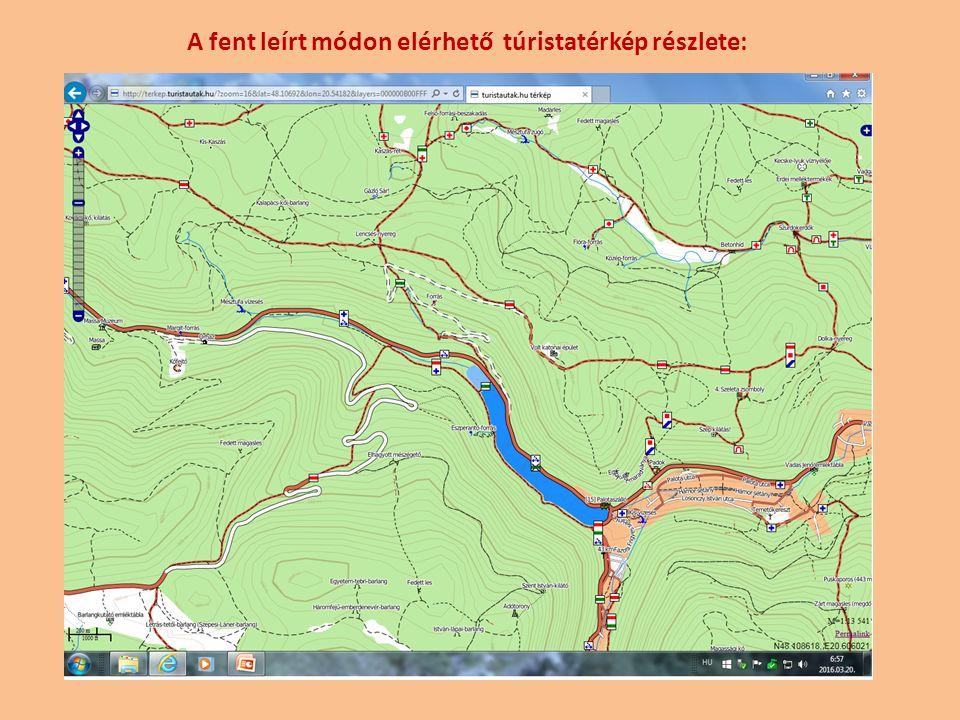 A fent leírt módon elérhető túristatérkép részlete: