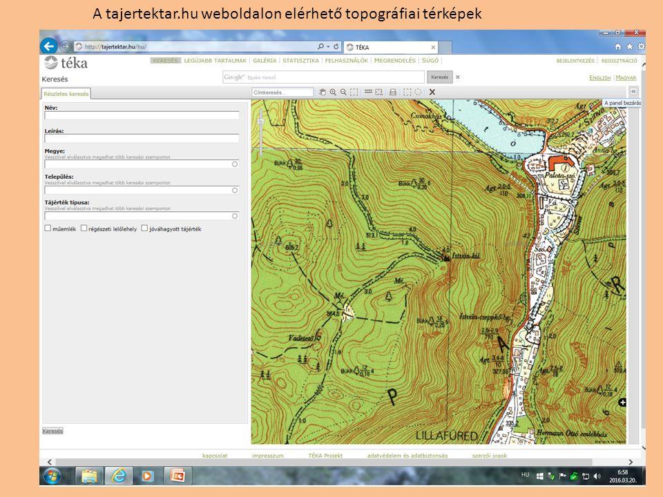 A tajertektar.hu weboldalon elérhető topográfiai térképek