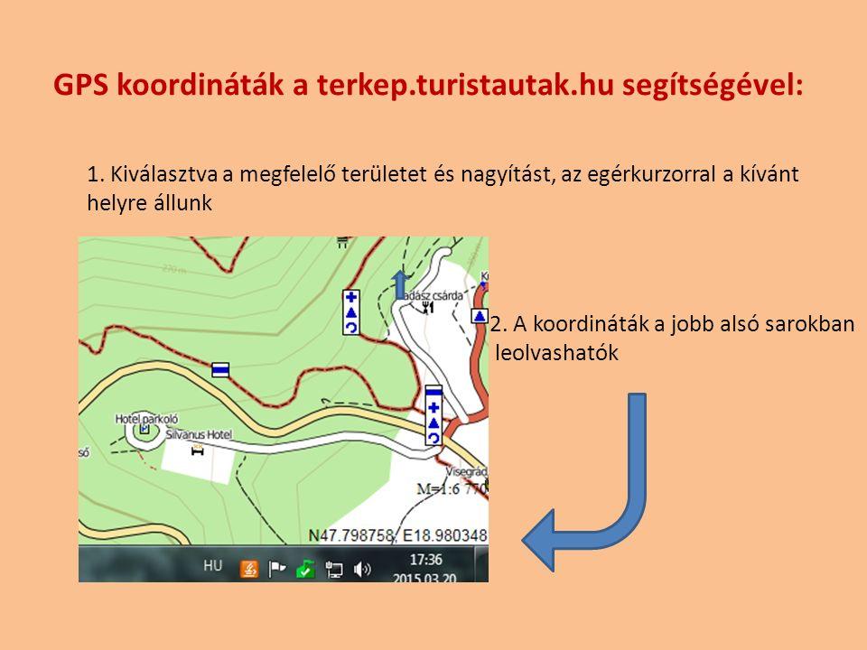 GPS koordináták a terkep.turistautak.hu segítségével: 1.