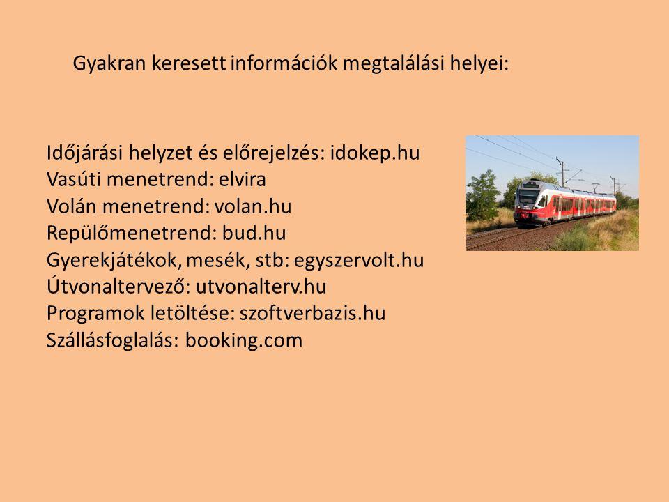Gyakran keresett információk megtalálási helyei: Időjárási helyzet és előrejelzés: idokep.hu Vasúti menetrend: elvira Volán menetrend: volan.hu Repülőmenetrend: bud.hu Gyerekjátékok, mesék, stb: egyszervolt.hu Útvonaltervező: utvonalterv.hu Programok letöltése: szoftverbazis.hu Szállásfoglalás: booking.com