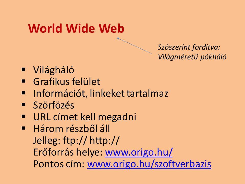  Világháló  Grafikus felület  Információt, linkeket tartalmaz  Szörfözés  URL címet kell megadni  Három részből áll Jelleg: ftp:// http:// Erőforrás helye: www.origo.hu/www.origo.hu/ Pontos cím: www.origo.hu/szoftverbaziswww.origo.hu/szoftverbazis World Wide Web Szószerint fordítva: Világméretű pókháló