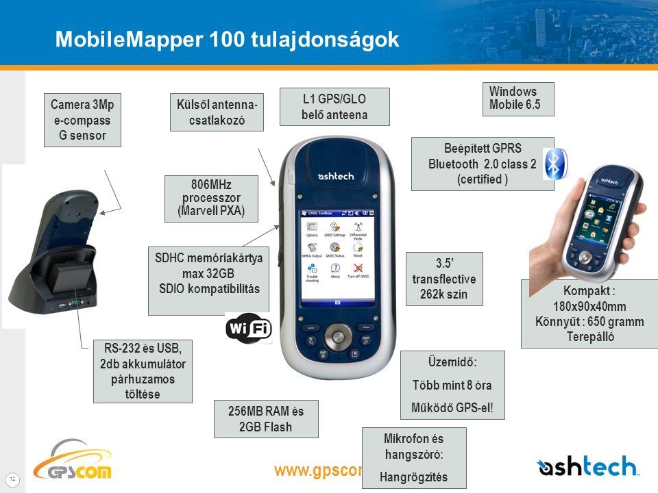 www.gpscom.hu 11 Terepre termett – terepáló és rendkívül könnyű Kézi, kompakt és könnyű eszköz –650g akkumulátorral együtt, kategóriájában a legkönnye