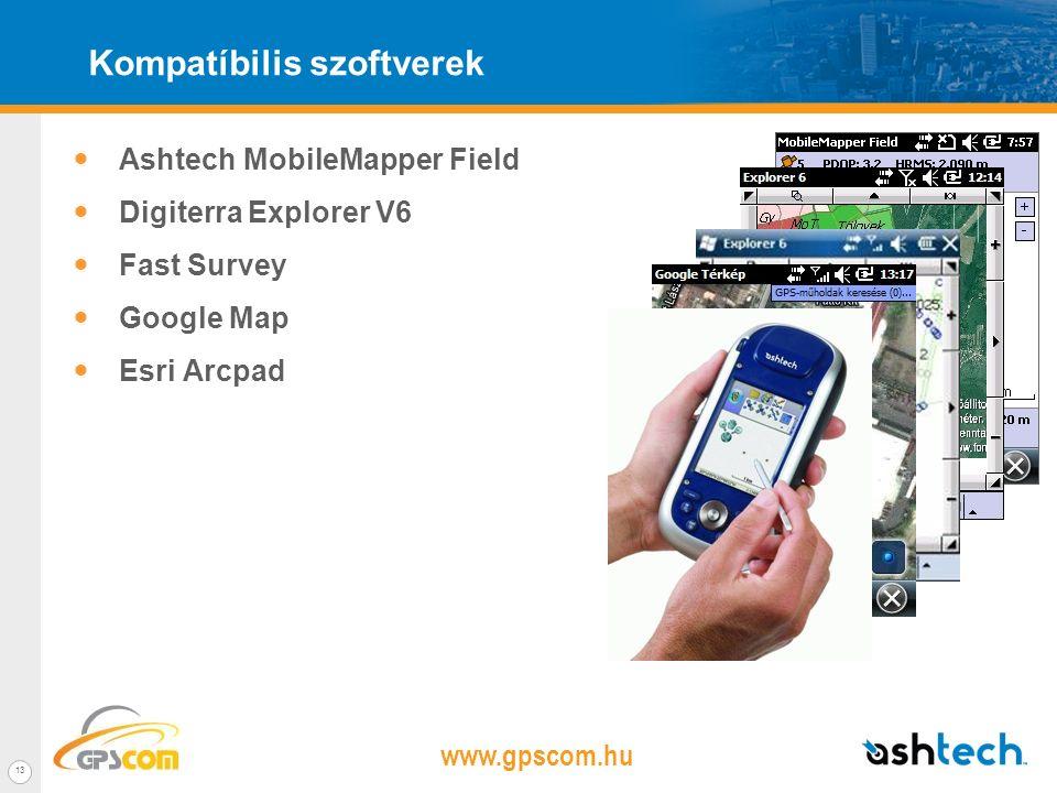 www.gpscom.hu 12 MobileMapper 100 tulajdonságok 3.5' transflective 262k szín Windows Mobile 6.5 Beépített GPRS Bluetooth 2.0 class 2 (certified ) 806MHz processzor (Marvell PXA) L1 GPS/GLO belő anteena Kompakt : 180x90x40mm Könnyűt : 650 gramm Terepálló 256MB RAM és 2GB Flash Üzemidő: Több mint 8 óra Működő GPS-el.