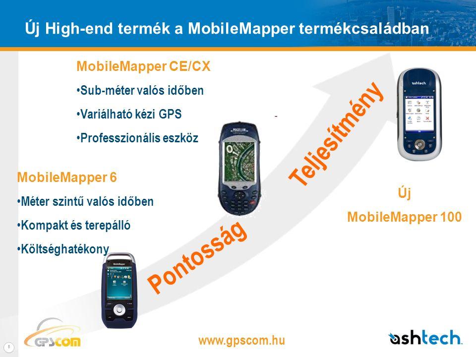 www.gpscom.hu 4 MobileMapper 100 – Fő előnyök Nagypontosságú kézi GNSS vevő –BLADE technológia –Sub-méteres, dm vagy cm pontossági módok valós időben –Kiterjesztett pozíció meghatározási képességek L1 GPS vagy L1 L1 GPS/GLONASS (később fejleszthető GPS L1/L2) Terepre tervezték –Kompakt és a könnyű –Beépített kommunikációs lehetőségek –Hatékony elektronika –Terepálló kivitel Variálható –Kibővített kommunikációs és multimédia képességek –Windows Mobile környezet –Külső szenzorok használata –Skálázható GNSS : GPS vagy GPS/Glonass konfiguráció –Kompatíbilis más gyártók RTK hálózatával (VRS, FKP, MAC, GNSSNET)