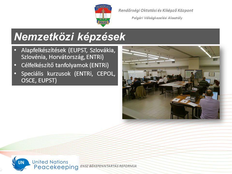 Rendőrségi Oktatási és Kiképző Központ Polgári Válságkezelési Alosztály Nemzetközi képzések Alapfelkészítések (EUPST, Szlovákia, Szlovénia, Horvátorsz