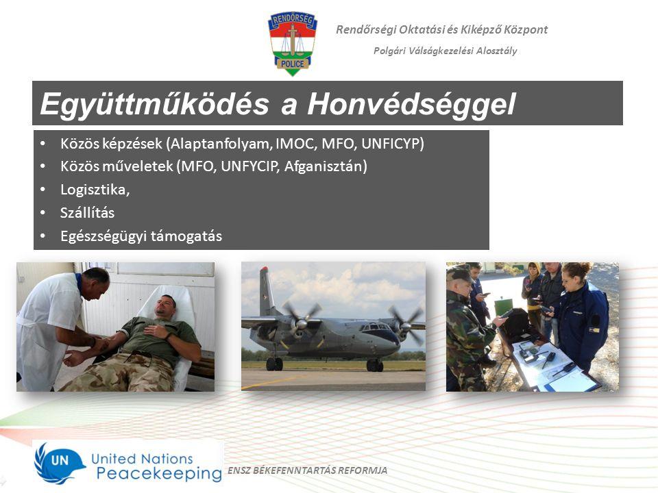 Rendőrségi Oktatási és Kiképző Központ Polgári Válságkezelési Alosztály Együttműködés a Honvédséggel Közös képzések (Alaptanfolyam, IMOC, MFO, UNFICYP