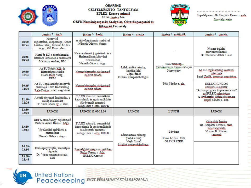 Rendőrségi Oktatási és Kiképző Központ Polgári Válságkezelési Alosztály A kiválasztás és felkészítés rendszere ENSZ BÉKEFENNTARTÁS REFORMJA