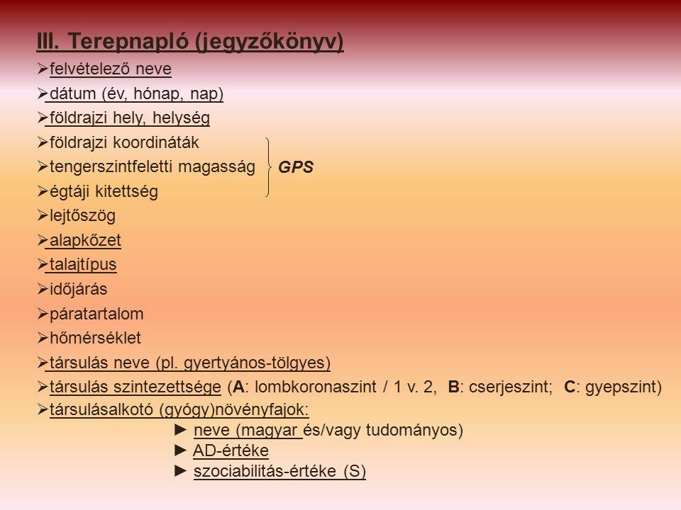 III. Terepnapló (jegyzőkönyv)  felvételező neve  dátum (év, hónap, nap)  földrajzi hely, helység  földrajzi koordináták  tengerszintfeletti magas