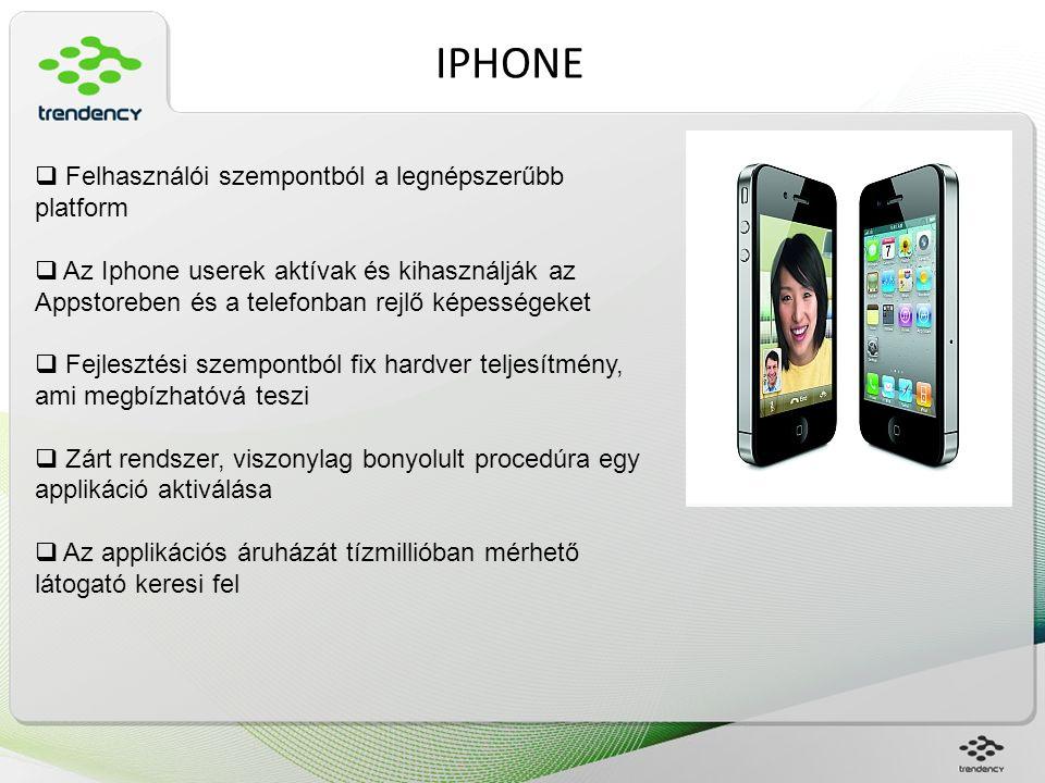 IPHONE  Felhasználói szempontból a legnépszerűbb platform  Az Iphone userek aktívak és kihasználják az Appstoreben és a telefonban rejlő képességeke