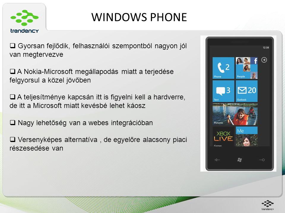 WINDOWS PHONE  Gyorsan fejlődik, felhasználói szempontból nagyon jól van megtervezve  A Nokia-Microsoft megállapodás miatt a terjedése felgyorsul a