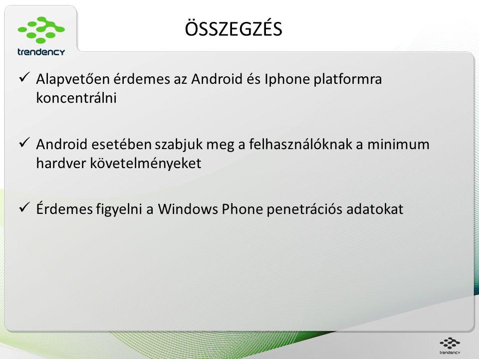 ÖSSZEGZÉS Alapvetően érdemes az Android és Iphone platformra koncentrálni Android esetében szabjuk meg a felhasználóknak a minimum hardver követelmény