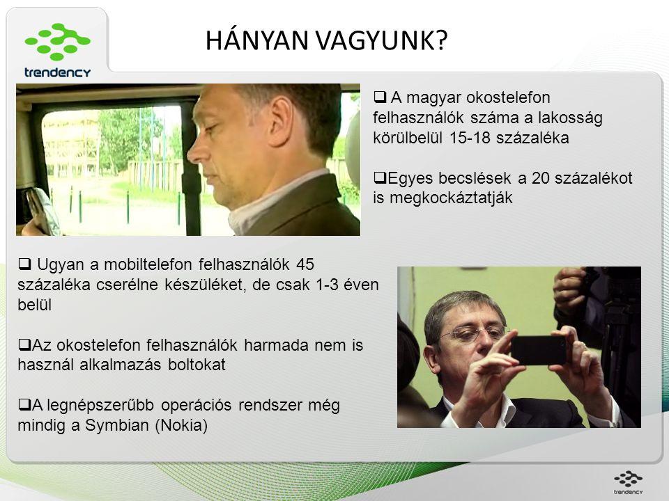 A MAGYAR FELHASZNÁLÓ  A T-Mobile egyik kutatása szerint a magyar okostelefon felhasználók 96 százaléka napi szinten használ valamilyen applikációt  Egy férfi átlagosan napi 4,a hölgyek napi 3 alkalmazást vesznek igénybe naponta  Az Iphone felhasználók a legaktívabbak, minden szegmensben magasabb számokat produkálnak a többi mobil platformnál  A fiatalok főleg egymástól tájékozódnak az új applikációkról az idősebbe főleg célirányosan keresnek szakmai oldalakon  A legnépszerűbb applikációk nálunk is a közösségi oldalakat elérők