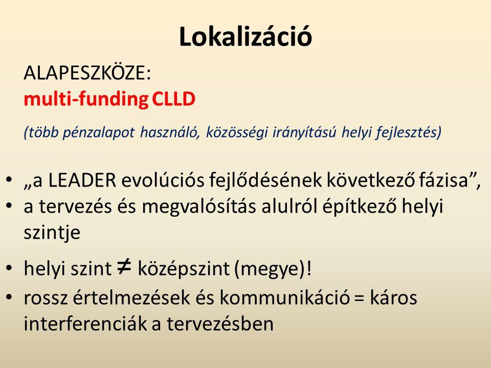 """Lokalizáció ALAPESZKÖZE: multi-funding CLLD (több pénzalapot használó, közösségi irányítású helyi fejlesztés) """"a LEADER evolúciós fejlődésének következő fázisa , a tervezés és megvalósítás alulról építkező helyi szintje helyi szint ≠ középszint (megye)."""