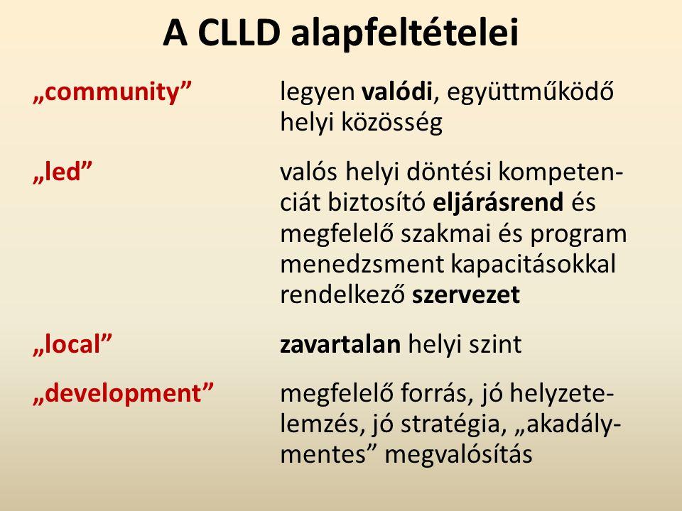 """A CLLD alapfeltételei """"community legyen valódi, együttműködő helyi közösség """"led valós helyi döntési kompeten- ciát biztosító eljárásrend és megfelelő szakmai és program menedzsment kapacitásokkal rendelkező szervezet """"local zavartalan helyi szint """"development megfelelő forrás, jó helyzete- lemzés, jó stratégia, """"akadály- mentes megvalósítás"""
