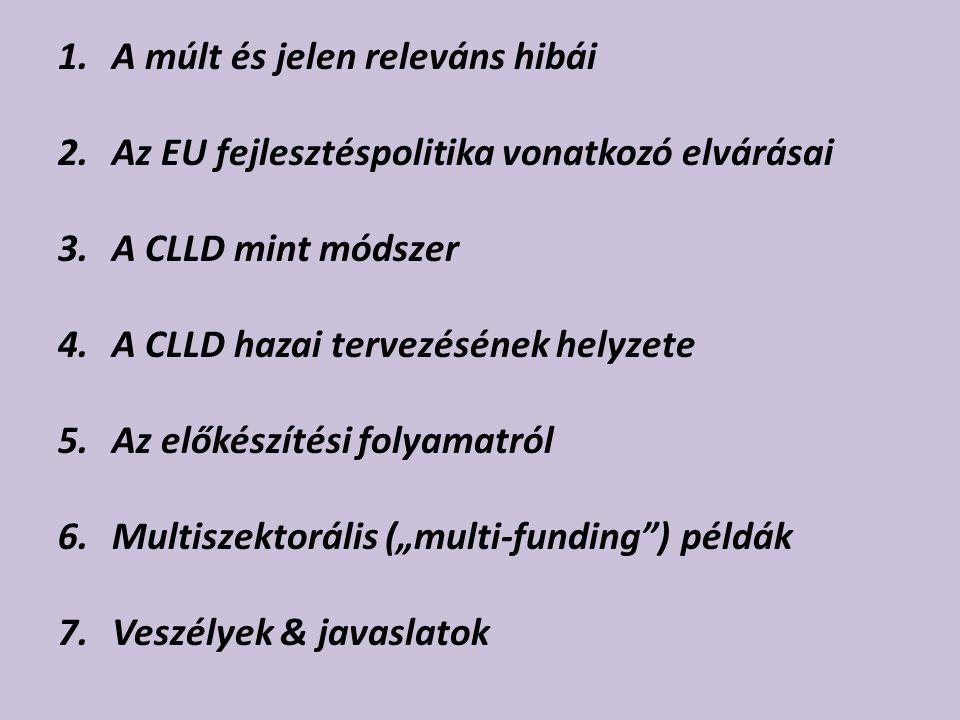 """1.A múlt és jelen releváns hibái 2.Az EU fejlesztéspolitika vonatkozó elvárásai 3.A CLLD mint módszer 4.A CLLD hazai tervezésének helyzete 5.Az előkészítési folyamatról 6.Multiszektorális (""""multi-funding ) példák 7.Veszélyek & javaslatok"""