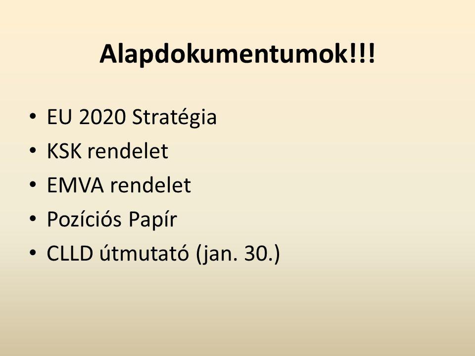 Alapdokumentumok!!! EU 2020 Stratégia KSK rendelet EMVA rendelet Pozíciós Papír CLLD útmutató (jan. 30.)