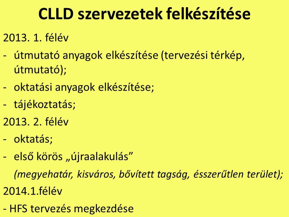 CLLD szervezetek felkészítése 2013. 1. félév -útmutató anyagok elkészítése (tervezési térkép, útmutató); -oktatási anyagok elkészítése; -tájékoztatás;