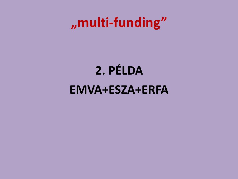 """multi-funding"" 2. PÉLDA EMVA+ESZA+ERFA"