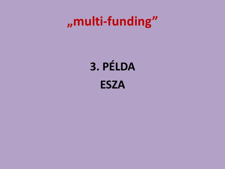 """multi-funding"" 3. PÉLDA ESZA"