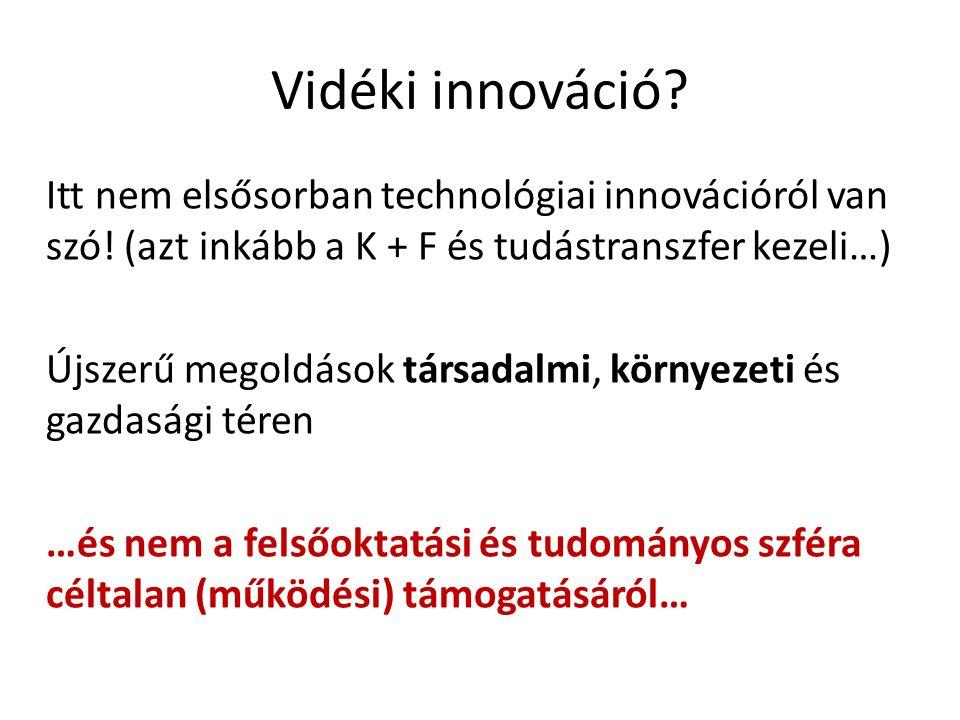 Vidéki innováció? Itt nem elsősorban technológiai innovációról van szó! (azt inkább a K + F és tudástranszfer kezeli…) Újszerű megoldások társadalmi,