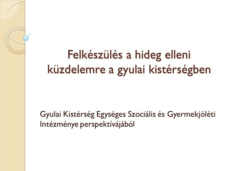 Felkészülés a hideg elleni küzdelemre a gyulai kistérségben Gyulai Kistérség Egységes Szociális és Gyermekjóléti Intézménye perspektívájából