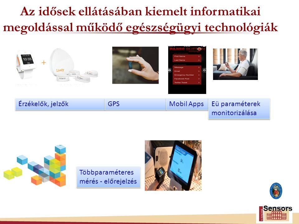 Az idősek ellátásában kiemelt informatikai megoldással működő egészségügyi technológiák Sensors Érzékelők, jelzők GPS Mobil Apps Többparaméteres mérés - előrejelzés Eü paraméterek monitorizálása