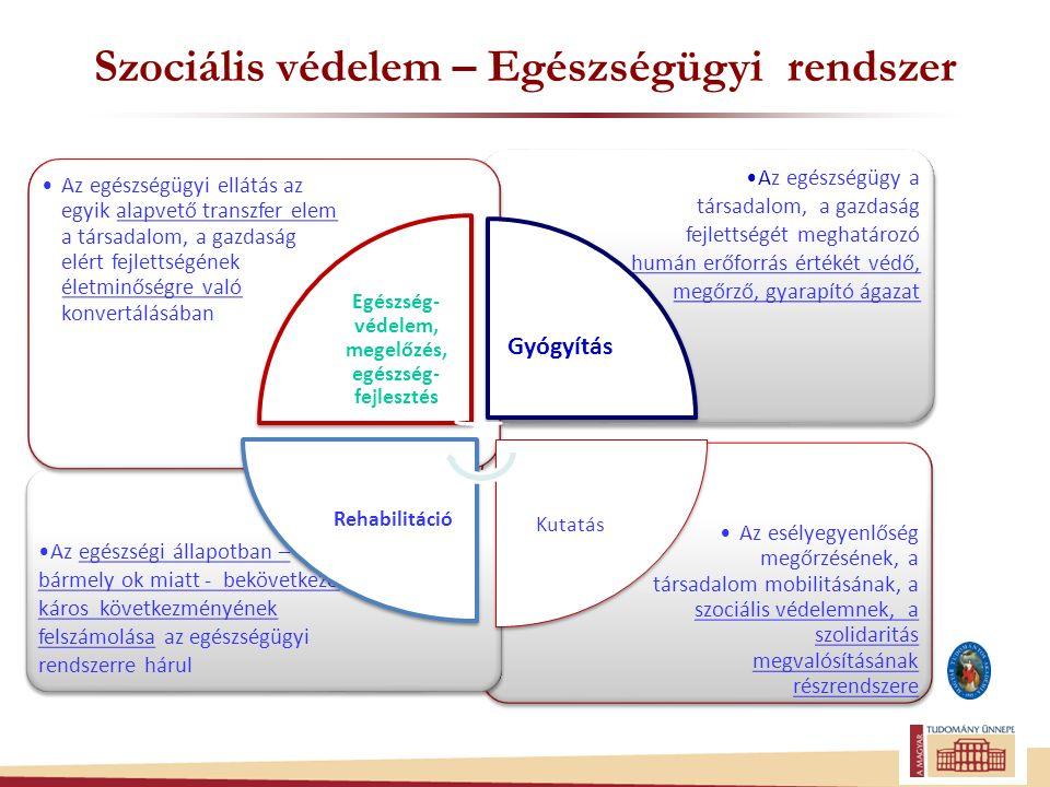 Szociális védelem – Egészségügyi rendszer Az esélyegyenlőség megőrzésének, a társadalom mobilitásának, a szociális védelemnek, a szolidaritás megvalósításának részrendszere Az egészségi állapotban – bármely ok miatt - bekövetkező káros következményének felszámolása az egészségügyi rendszerre hárul Az egészségügy a társadalom, a gazdaság fejlettségét meghatározó humán erőforrás értékét védő, megőrző, gyarapító ágazat Az egészségügyi ellátás az egyik alapvető transzfer elem a társadalom, a gazdaság elért fejlettségének életminőségre való konvertálásában Egészség- védelem, megelőzés, egészség- fejlesztés Gyógyítás Kutatás Rehabilitáció