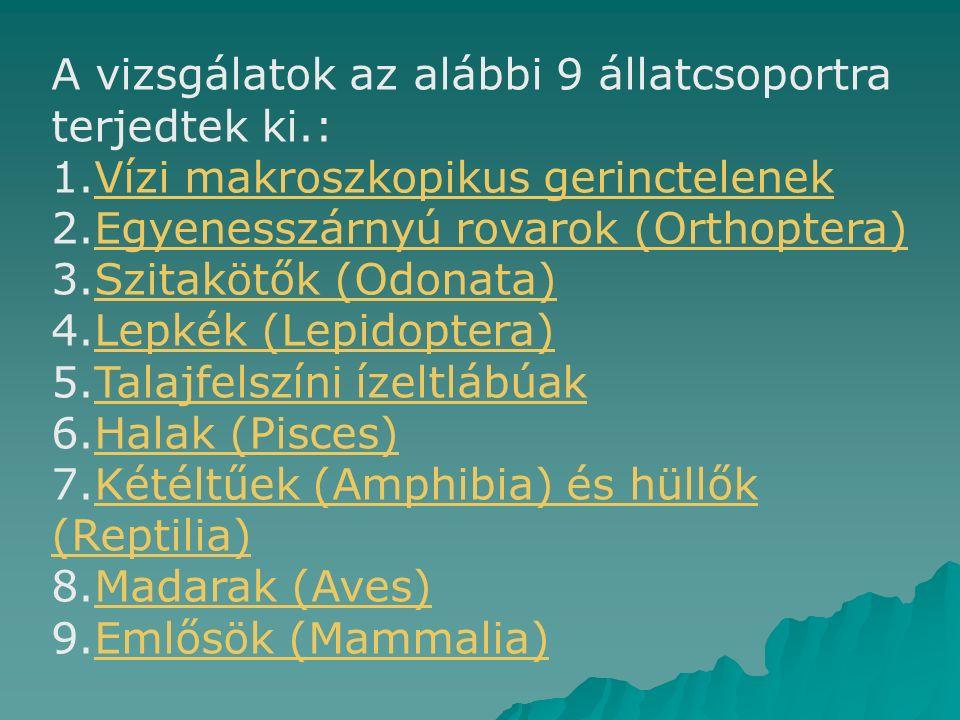 A vizsgálatok az alábbi 9 állatcsoportra terjedtek ki.: 1.Vízi makroszkopikus gerinctelenekVízi makroszkopikus gerinctelenek 2.Egyenesszárnyú rovarok (Orthoptera)Egyenesszárnyú rovarok (Orthoptera) 3.Szitakötők (Odonata)Szitakötők (Odonata) 4.Lepkék (Lepidoptera)Lepkék (Lepidoptera) 5.Talajfelszíni ízeltlábúakTalajfelszíni ízeltlábúak 6.Halak (Pisces)Halak (Pisces) 7.Kétéltűek (Amphibia) és hüllők (Reptilia)Kétéltűek (Amphibia) és hüllők (Reptilia) 8.Madarak (Aves)Madarak (Aves) 9.Emlősök (Mammalia)Emlősök (Mammalia)