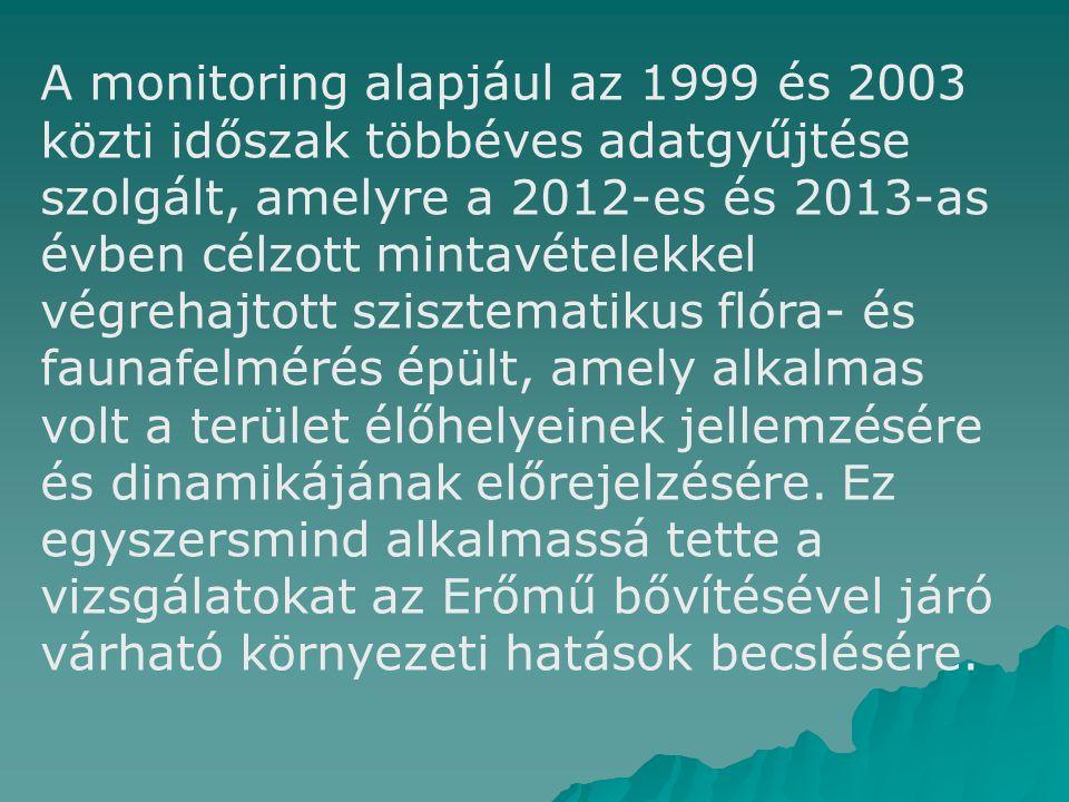 A monitoring alapjául az 1999 és 2003 közti időszak többéves adatgyűjtése szolgált, amelyre a 2012-es és 2013-as évben célzott mintavételekkel végrehajtott szisztematikus flóra- és faunafelmérés épült, amely alkalmas volt a terület élőhelyeinek jellemzésére és dinamikájának előrejelzésére.