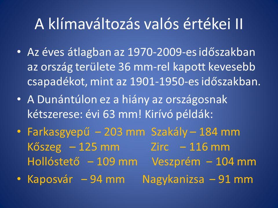 A klímaváltozás valós értékei II Az éves átlagban az 1970-2009-es időszakban az ország területe 36 mm-rel kapott kevesebb csapadékot, mint az 1901-1950-es időszakban.
