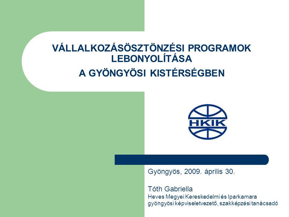 VÁLLALKOZÁSÖSZTÖNZÉSI PROGRAMOK LEBONYOLÍTÁSA A GYÖNGYÖSI KISTÉRSÉGBEN Gyöngyös, 2009.