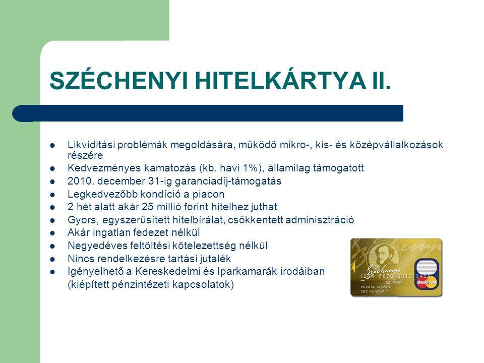 SZÉCHENYI HITELKÁRTYA II. Likviditási problémák megoldására, működő mikro-, kis- és középvállalkozások részére Kedvezményes kamatozás (kb. havi 1%), á