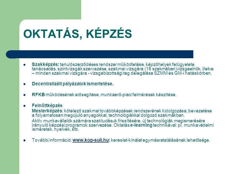 OKTATÁS, KÉPZÉS Szakképzés: tanulószerződéses rendszer működtetése, képzőhelyek felügyelete, tanácsadás, szintvizsgák szervezése, szakmai vizsgára (16