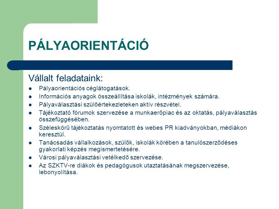 PÁLYAORIENTÁCIÓ Vállalt feladataink: Pályaorientációs céglátogatások.