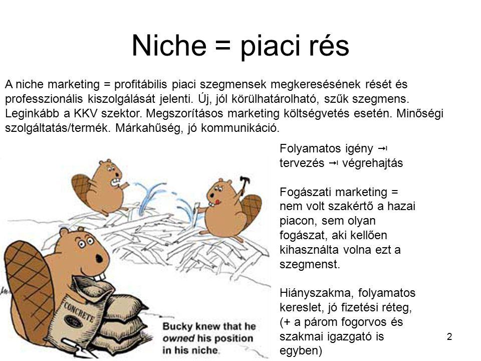 2 Niche = piaci rés Folyamatos igény  tervezés  végrehajtás Fogászati marketing = nem volt szakértő a hazai piacon, sem olyan fogászat, aki kellően kihasználta volna ezt a szegmenst.