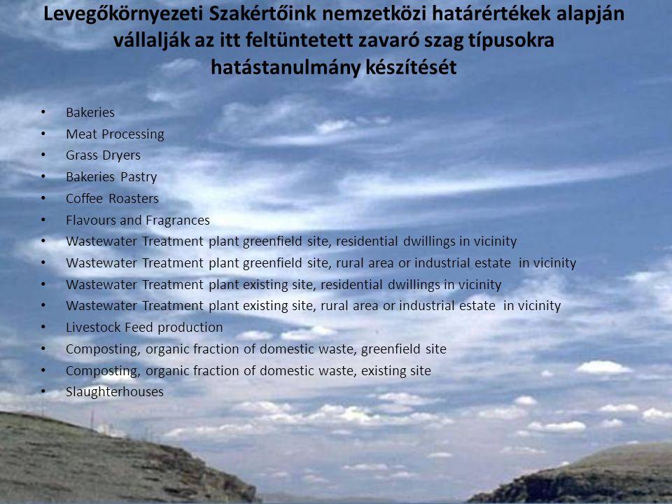 Határértékek Európában OrszágHatárérték (OU E /m 3 ) Dánia5-10 Hollandia5 Írország3 (új telepek) 6 (meglévő telepek) Norvégia5-10 Magyarország3 – 5* * Levegőkörnyezeti Szakértőink javaslata alapján