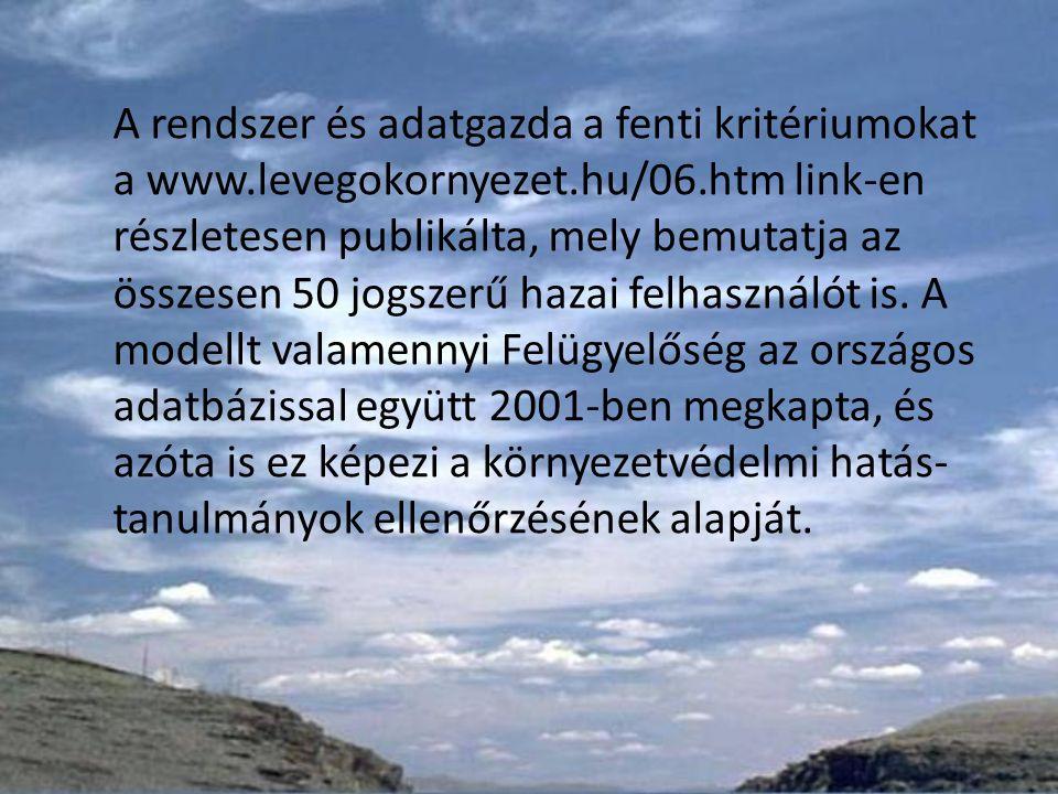A rendszer és adatgazda a fenti kritériumokat a www.levegokornyezet.hu/06.htm link-en részletesen publikálta, mely bemutatja az összesen 50 jogszerű hazai felhasználót is.