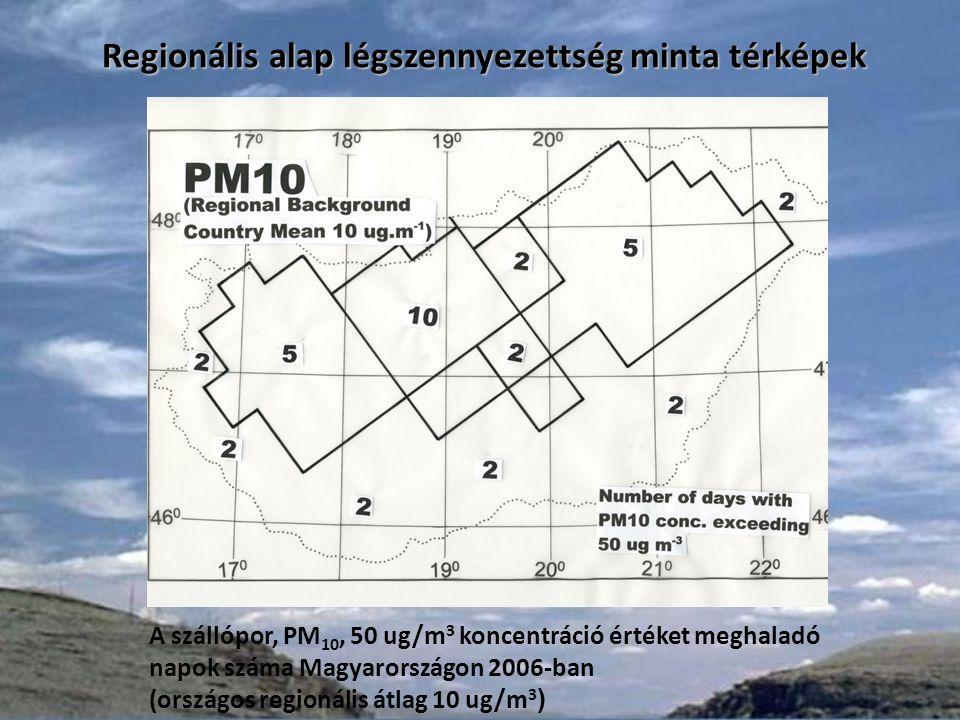 Alap légszennyezettségnek az éves átlagértékét bemutató térkép mellett fontos része a határértéket meghaladó koncentrációk előfordulásának éves gyakorisága is.