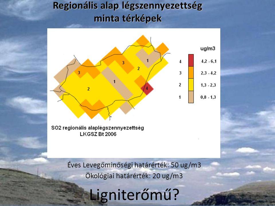 A szállópor, PM 10, 50 ug/m 3 koncentráció értéket meghaladó napok száma Magyarországon 2006-ban (országos regionális átlag 10 ug/m 3 ) Regionális alap légszennyezettség minta térképek Regionális alap légszennyezettség minta térképek