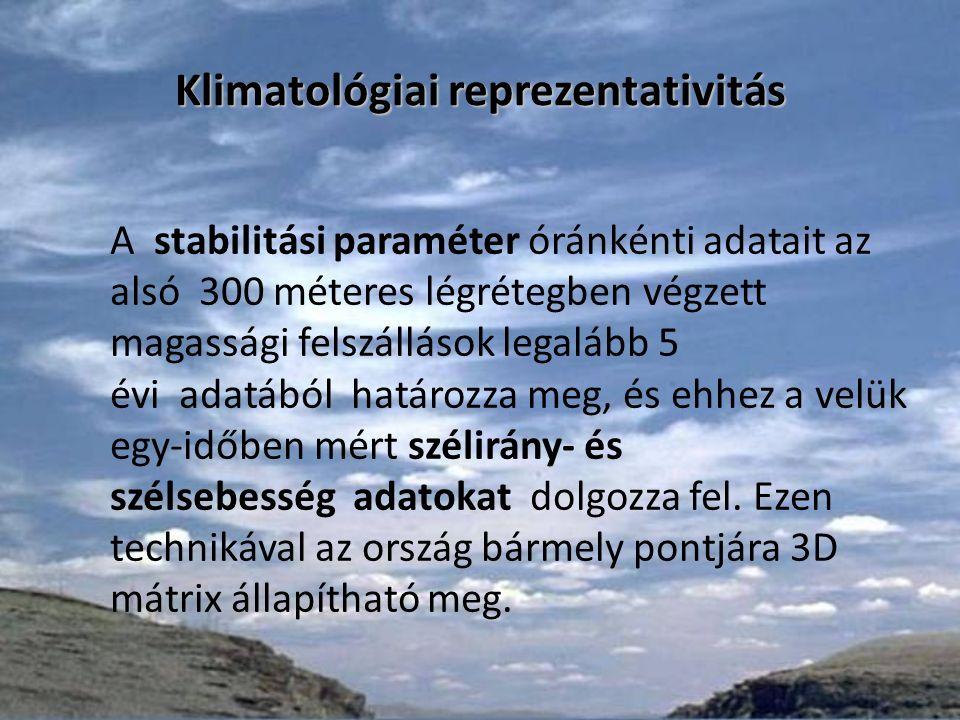 Klimatológiai reprezentativitás A stabilitási paraméter óránkénti adatait az alsó 300 méteres légrétegben végzett magassági felszállások legalább 5 évi adatából határozza meg, és ehhez a velük egy-időben mért szélirány- és szélsebesség adatokat dolgozza fel.