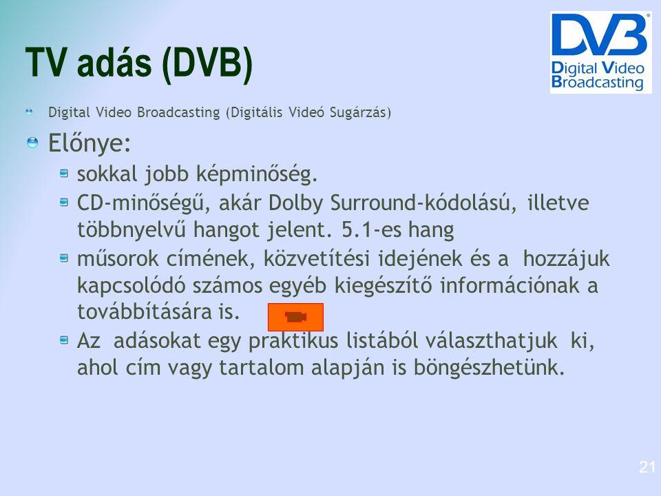 TV adás (DVB) Digital Video Broadcasting (Digitális Videó Sugárzás) Előnye: sokkal jobb képminőség.